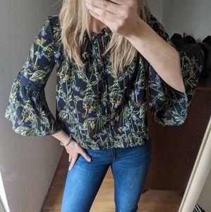 Topshop Blouse Flared Sleeves Boho Gypsy Size 4